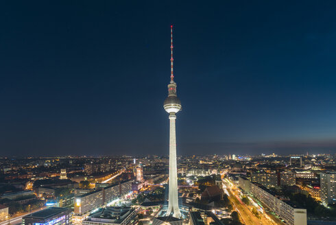 Germany, Berlin, view to television tower at night - TAMF000513