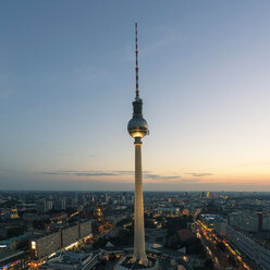 Germany, Berlin, view to television tower by sunset - TAMF000516