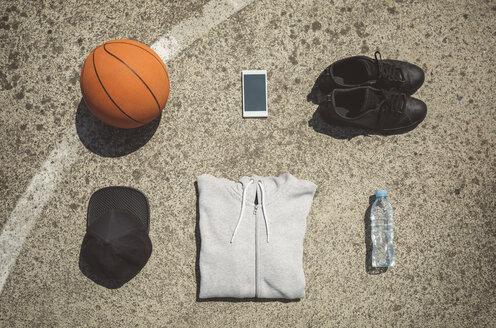 Basketball items lying on ground of basketball court - DAPF000187