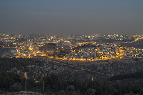 Israel, Jerusalem, cityscape at night as seen from Nabi Samwil mountain - HWOF000145