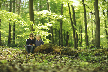Brother and sister in forest using digital tablet - SBOF000163