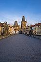 Czechia, Prague, Old town, Kleinseite Bridge Tower in the evening - WGF000882