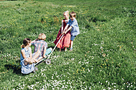 Children with cart playing in meadow - MJF001927