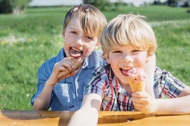 Two boys eating ice cream cones - MJF001951