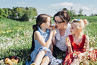 Mother and two girls in meadow eating ice cream cones - MJF001954