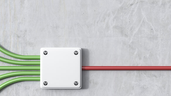 3D Rendering, energy, distribution board, red, green - AHUF000183