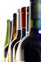 Germany, row of different wine bottles - JTF000759