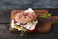Veggie Burger, vegan, with salad, radish, tomato, basil halloumi and rock chive - MYF001638