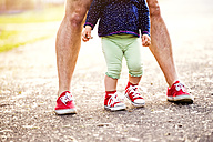 Legs of little girl and her father both wearing red sneakers - HAPF000587