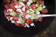 Bowl of salad with watermelon, cucumber, mint and feta - LVF005034