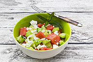 Bowl of salad with watermelon, cucumber, mint and feta - LVF005037