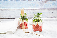 Salad with watermelon, rocket and feta in glasses - LVF005040