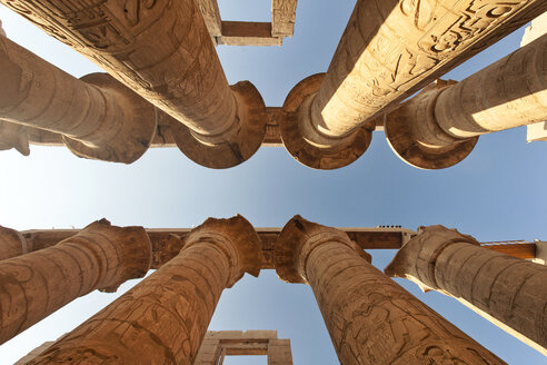 Egypt, Luxor, Karnak Temple, columns, low angle view - FPF000087