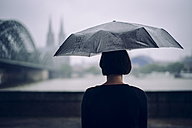 Germany, Cologne, back view of woman with umbrella on a rainy day - DASF000044