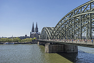 Germany, Cologne, Hohenzollern Bridge and Cathedral - PVCF000841