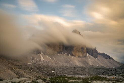 Italy, Dolomites, Tre Cime di Lavaredo and fog - MKFF000296