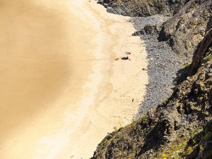 Portugal, Alentejo, Praia do Tonel with sunshade - LAF001669