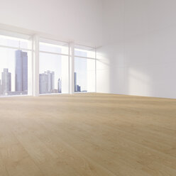 Empty hall with plank flooring in a high rise, 3D Rendering - UW000908