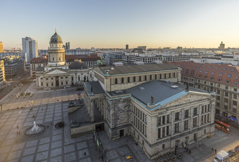 Germany, Berlin, view to Gendarmenmarkt from above in the evening - PVCF000854