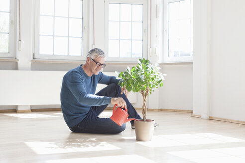 Man sitting on floor watering plant in empty apartment - RBF004692