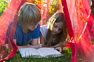 Sister and brother lying on a meadow under mosquito net reading a book together - SARF002812