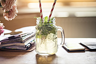 Homemade herb lemonade, notebook, smartphone, homeoffice - SBDF002998