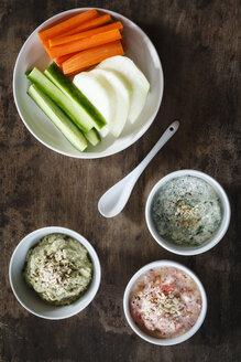 Tomato dip, avocado dip and herb dip and row food - EVGF002998