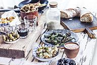 Grilled sepia, olives, pimientos de padron , Mojo sauce, patatas bravas, tortilla de patate, boquerones fritos, vino and bread - SBDF003019