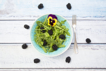Bowl of wild-herb salad with edible flower and blackberries - LVF005121