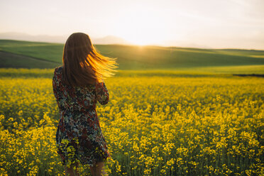 Back view of young woman standing in a rape field at twilight - DERF000048