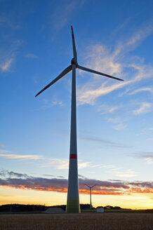 Germany, Bavaria, Wind wheel in the evening - UMF000812