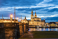Germany, Saxony, Dresden, Dresden cathedral, Augustus Bridge and the Elbe river in the evening - TAMF000535