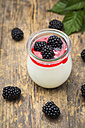 Glass of natural yoghurt with sirup and blackberries - LVF005134