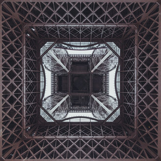 France, Paris, Eiffel Tower seen from below - ZEDF000212