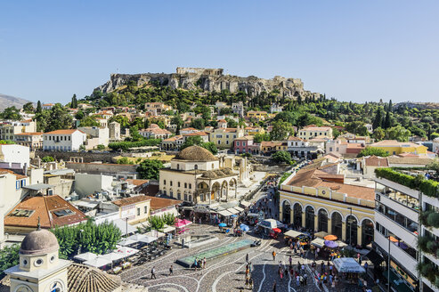 Greece, Athens, Monasteraki square and Acropolis in the background - THAF001604