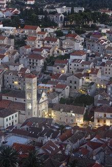 Croatia, Hvar Island, Hvar, Hvar Cathedral in the evening - GFF000680