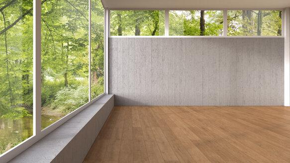 Empty room with panorama window and wooden floor, 3D Rendering - UWF000918