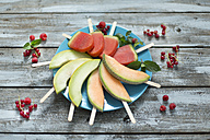 Plate of homemade watermelon ice lollies, slices of Galia and Cantaloupe melon - MAEF011916