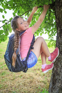 Portrait of smiling girl climbing on tree - VTF000538