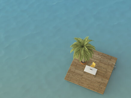 Desk with laptop on platform in the sea, 3D Rendering - UWF000921