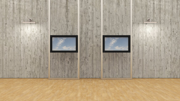 Training room with two monitors, 3D Rendering - UWF000927
