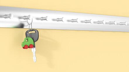 Car keys with key ring hanging on key hook, electric car - AHUF000197