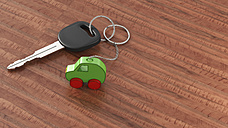 Car key with keychain, green car, clean energy - AHUF000200