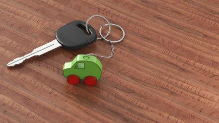 Car key with keychain, green car, clean energy - AHUF000200