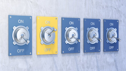 Different flip switches, on, off, - AHUF000203