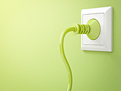 3D Rendering, Green plug in socket, clean energy, copy space - AHUF000206