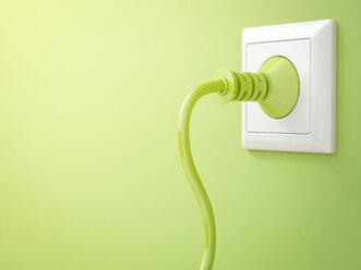 3D Rendering, Green plug in socket, clean energy, copy space - AHUF000206
