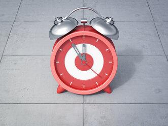 3D Rendering, red alarm clock, five to twelve - AHUF000209