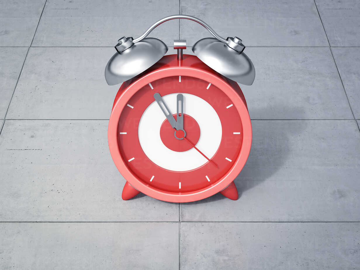 3D Rendering, red alarm clock, five to twelve - AHUF000209 - Anna Huber/Westend61