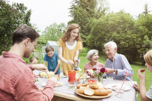 Happy extended family dining in garden - RBF004775